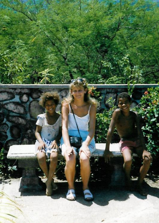 Christine Koch with foreign children Dominican Republic 1990